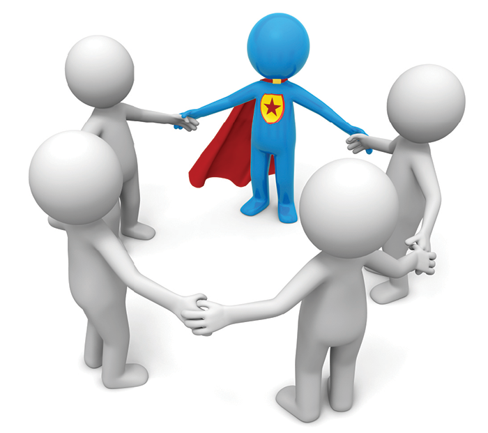 White anthropomorphic figures stand holding hands in a circle; one is a blue super hero with a red cape
